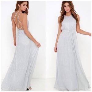 Lulu's  Comet's Tale Silver Maxi Dress Small